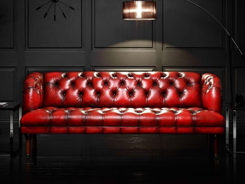 sofa kulit klasik warna merah