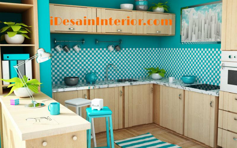 wallpaper dapur modern toska
