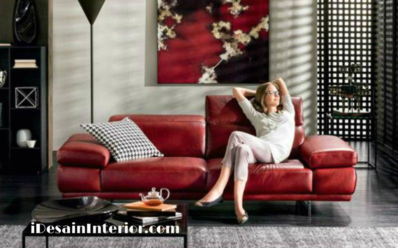 sofa kulit mewah italy asli warna merah 01