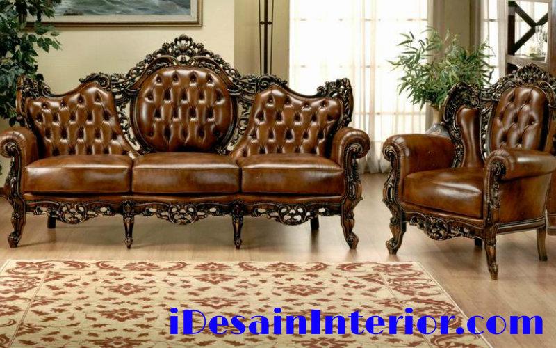 Sofa kulit mewah untuk ruang tamu