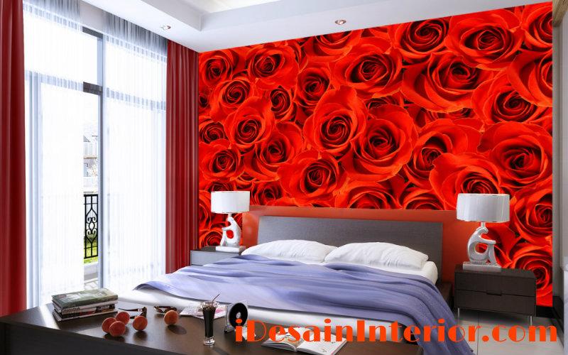 wallpaper kamar tidur merah rose